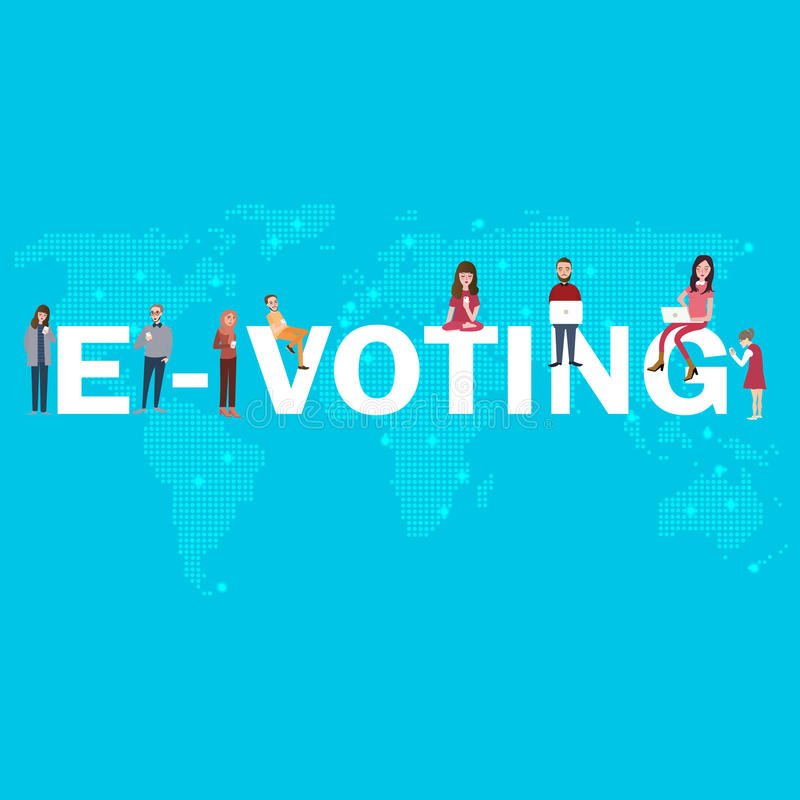 E-voting online poll electronic election internet digital democracy for young people. Vector vector illustration