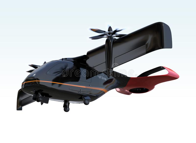 E-VTOL passenger aircraft takeoff from airport. Urban Passenger Mobility concept. 3D rendering image vector illustration