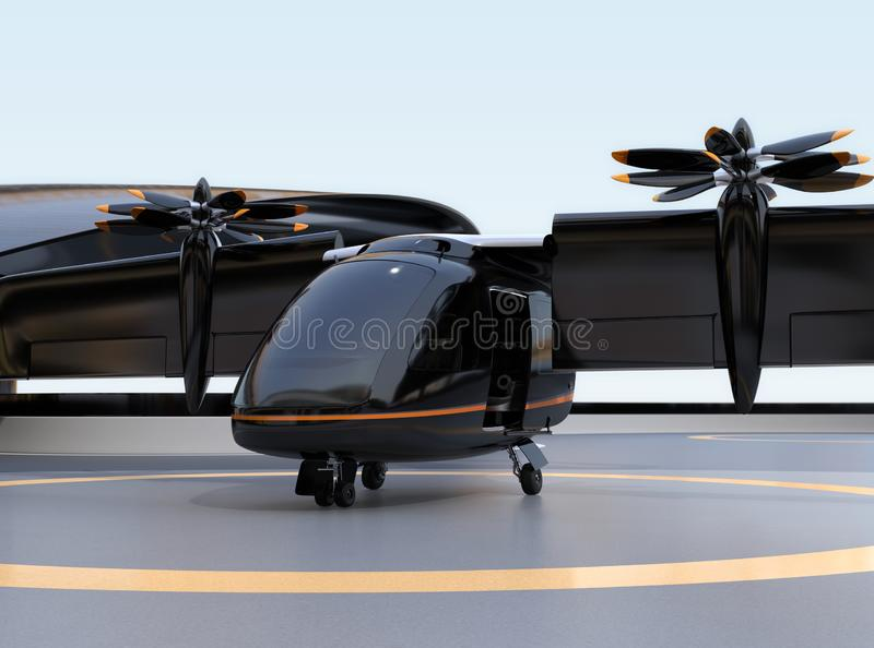 E-VTOL passenger aircraft waiting for takeoff from airport. Solar panel mounted on the wings. Urban Passenger Mobility concept. 3D rendering image stock illustration