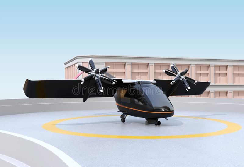 E-VTOL passenger aircraft waiting for takeoff from airport. Urban Passenger Mobility concept. 3D rendering image stock illustration
