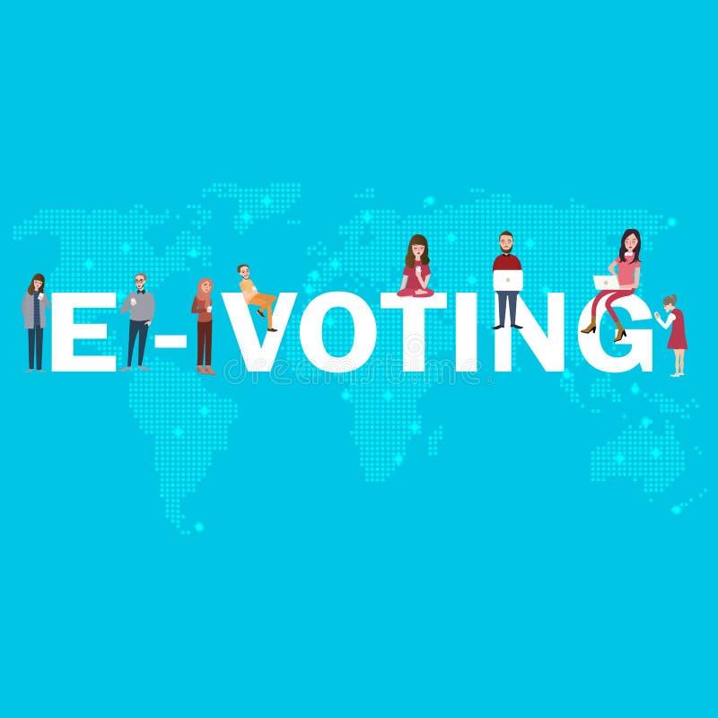 E-wählende digitale Demokratie des on-line-elektronischen Wahlinternets der Abstimmung für junge Leute vektor abbildung