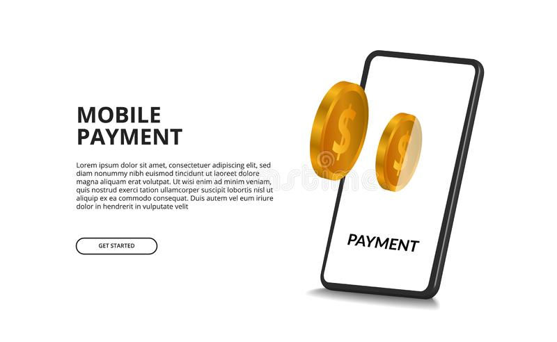 E-wallet digital payment concept with 3D golden coin and 3D perspective smartphone vector illustration