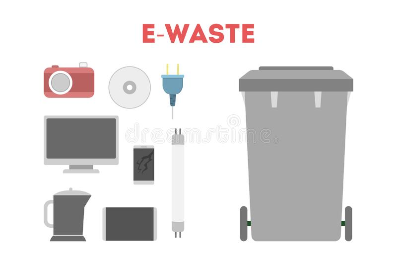 E-waste concept. Idea of electronic trash, computer and. Devices. Isolated vector illustration in flat style stock illustration