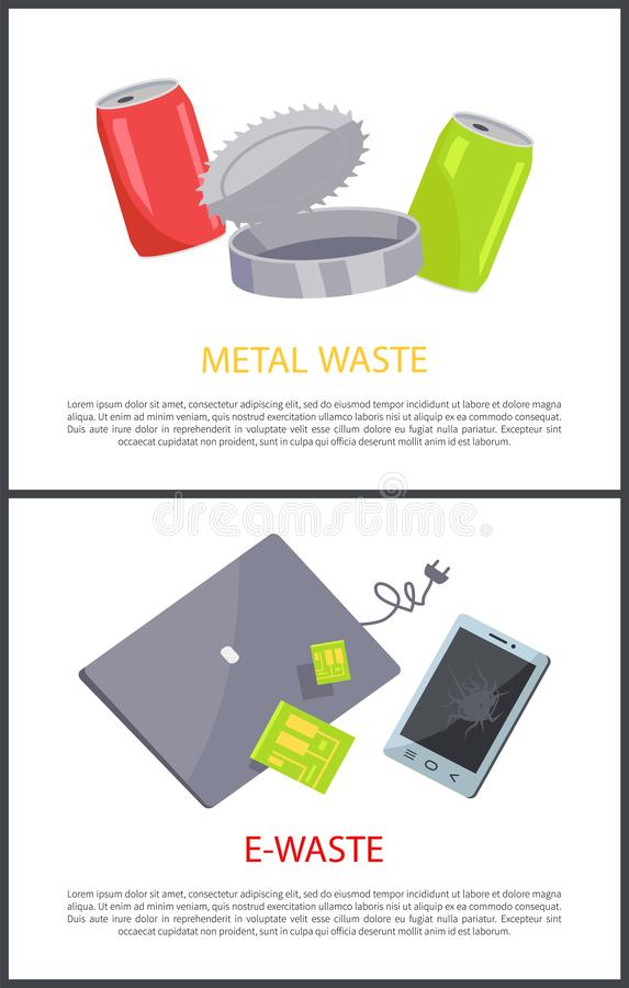 E-Waste and Metal Waste Set Vector Illustration royalty free illustration
