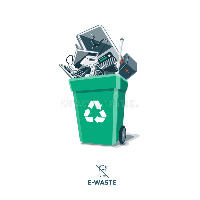 E-Waste in Recycling Bin. Electronic waste in green recycling bin with discarded electrical and electronic devices such as computer monitor, cell phone, radio vector illustration