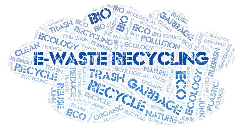 E-Waste Recycling word cloud. Wordcloud made with text only stock photography