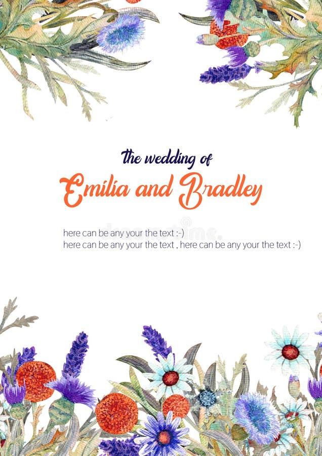 E watercolor ρύθμιση λουλουδιών Σχέδιο προτύπων ευχετήριων καρτών πρόσκληση ελεύθερη απεικόνιση δικαιώματος
