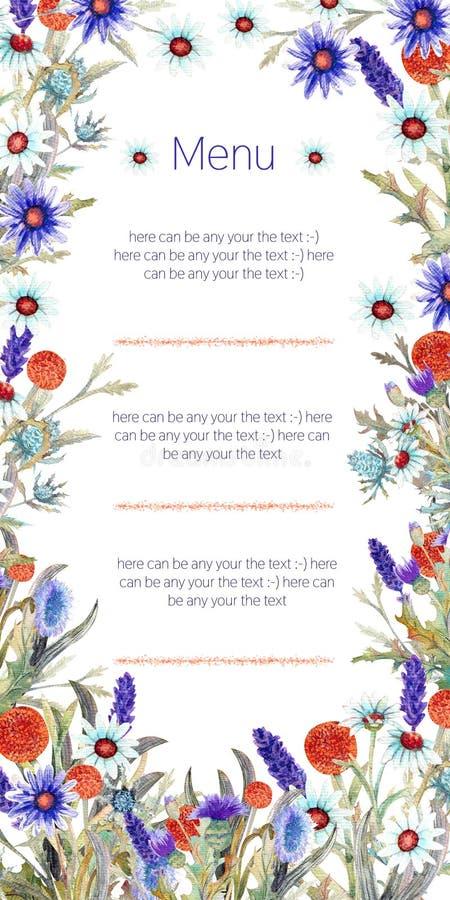 E watercolor arranjo de flor Projeto do molde do cartão Fundo do convite ilustração stock