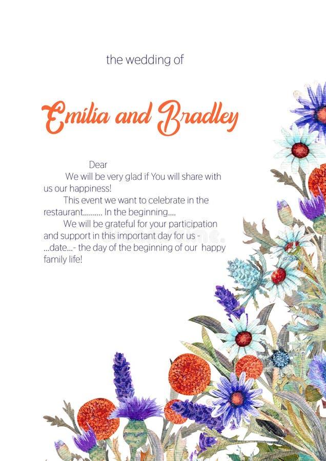 E watercolor arranjo de flor Projeto do molde do cartão invitation ilustração stock
