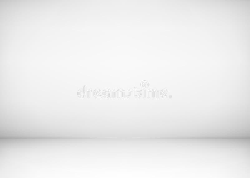 E Weißer Wand- und Bodenhintergrund Säubern Sie Werkstatt für Fotografie oder Darstellung Auch im corel abgehobenen Betrag stock abbildung