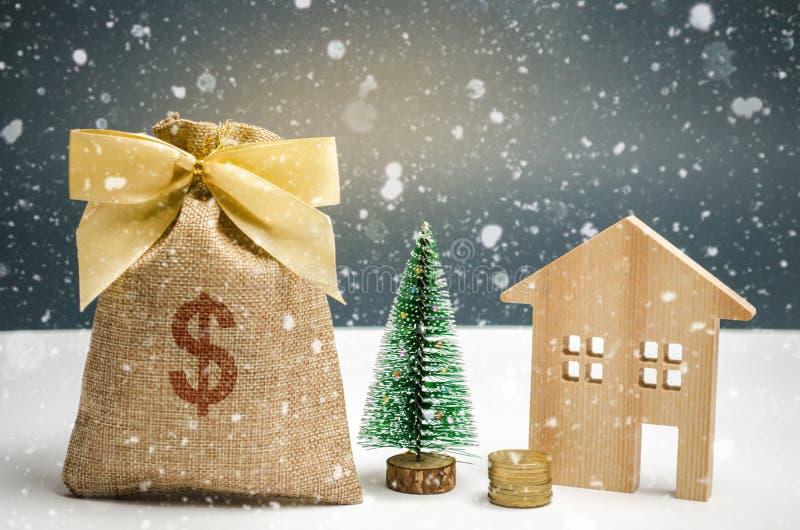 E Weihnachtsverkauf von Real Estate Rabatte des neuen Jahres für kaufendes Haus erwerb stockfoto