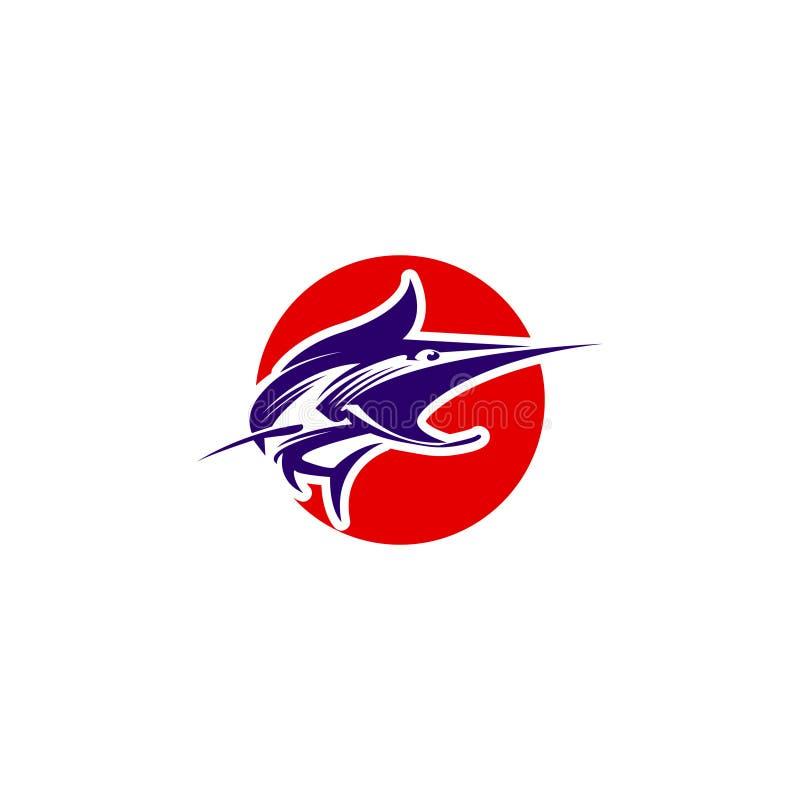 E Wektorowy połowu logo Chwytający marlin na haczyku ilustracji
