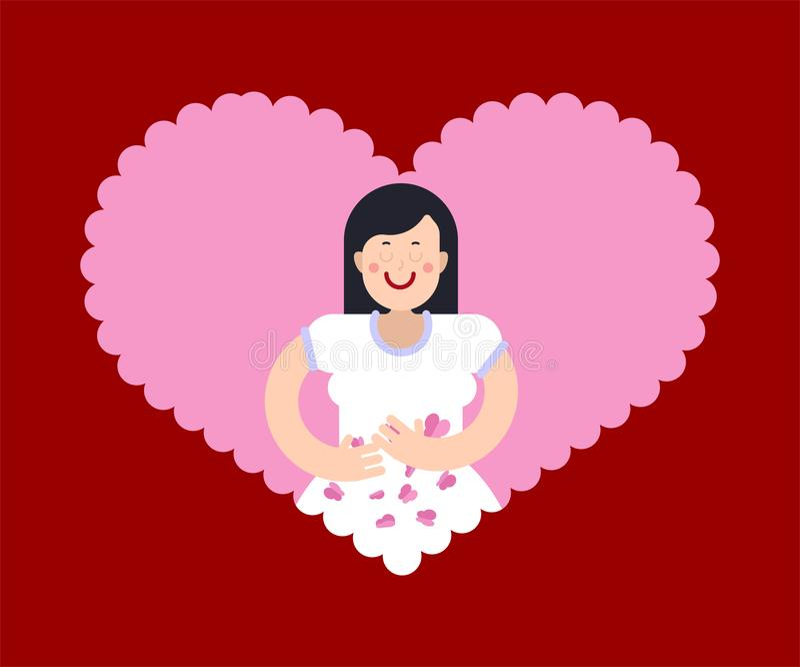 E Wijfje in liefde stock illustratie