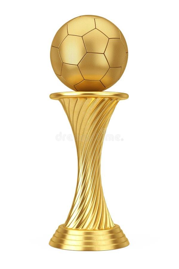 E Złotego nagrody trofeum piłki nożnej Futbolowa piłka świadczenia 3 d ilustracji