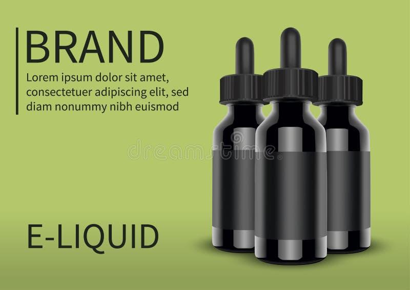 E-Zigaretten flüssige Flasche auf grünem Hintergrund Vape Auch im corel abgehobenen Betrag lizenzfreie stockfotos