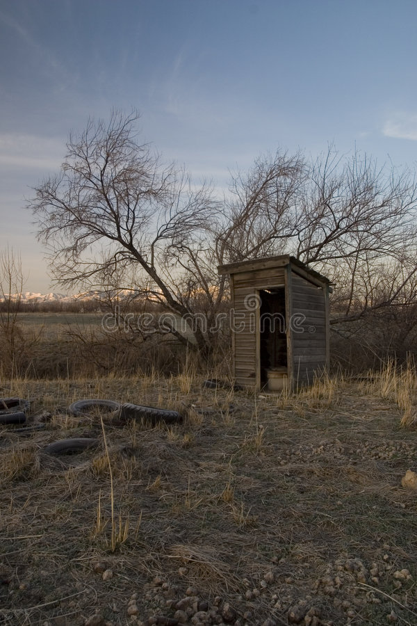 E45 Visiting the Outhouse at Sunrise royalty free stock photography