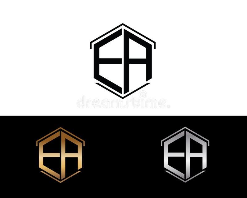 EA-Buchstaben verbunden mit Hexagonformlogo vektor abbildung