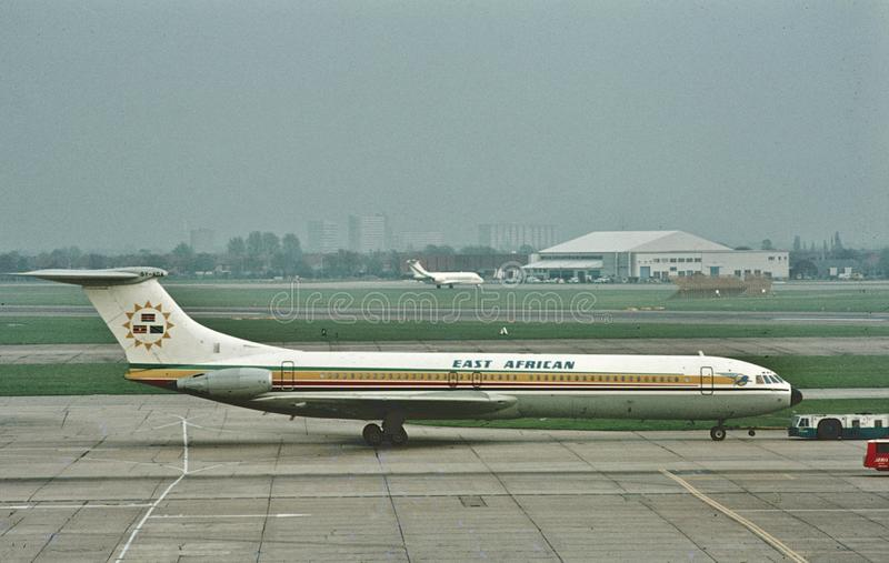 EAA East African Airways Vickers VC-10 at london Heathrow in April 1972 royalty free stock photography