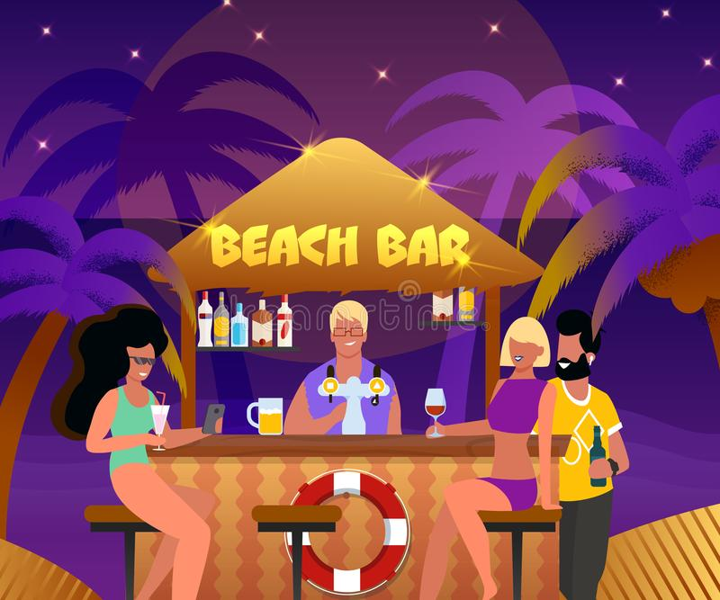 Each Bar with Bartender and People Drink Cocktails. Beach Bar with Bartender and Cartoon People Drink Cocktails Vector Illustration. Summer Night Party. Happy royalty free illustration