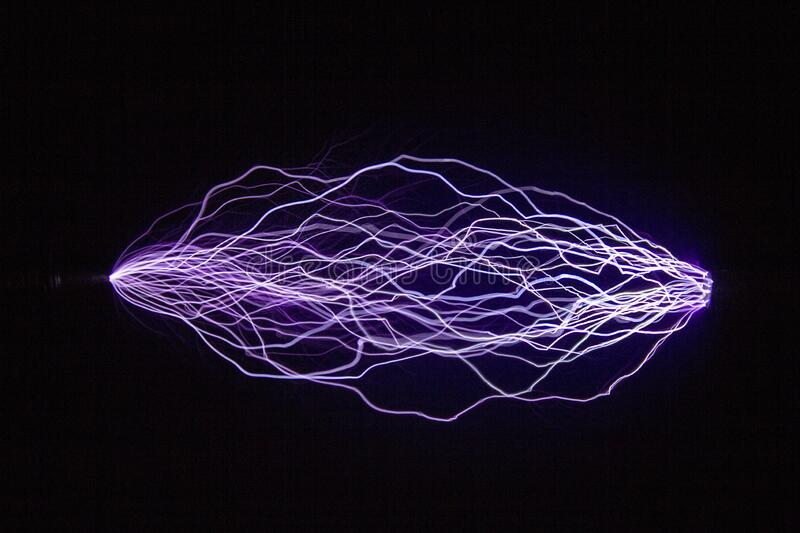 Image of trajectories of electric discharges for student projects. stock photo