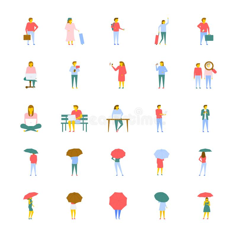 A Vector Icons Set Of People In Flat Design royalty free illustration