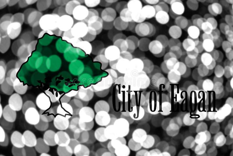 Eagan, bandera borrosa abstracta del bokeh de Minnesota La Navidad, Año Nuevo y bandera del concepto del día nacional Los Estados ilustración del vector