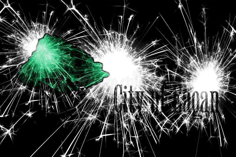 Eagan, bandera chispeante de los fuegos artificiales de Minnesota Concepto del Año Nuevo, de la Navidad y del día nacional Los Es stock de ilustración