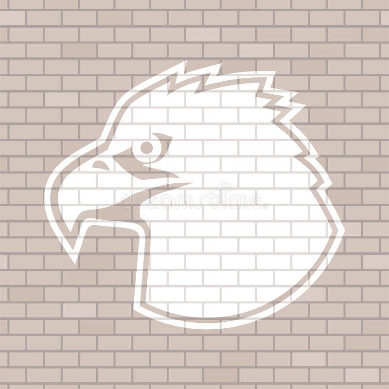 Eagle affronta assorbe il muro di mattoni royalty illustrazione gratis