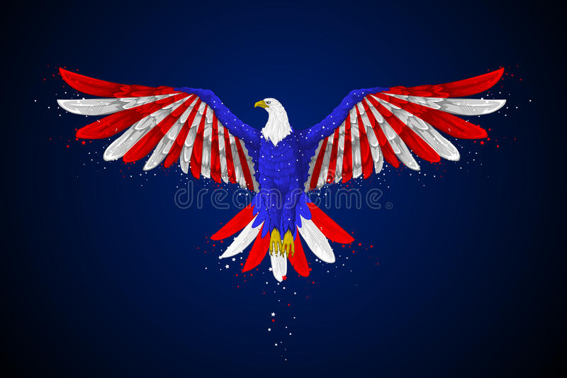 Eagle with American Flag vector illustration