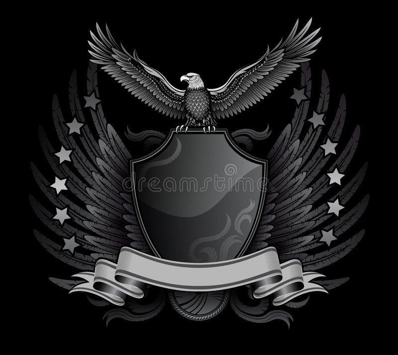 Free Eagle And Shield B&W Insignia Royalty Free Stock Photos - 7488338