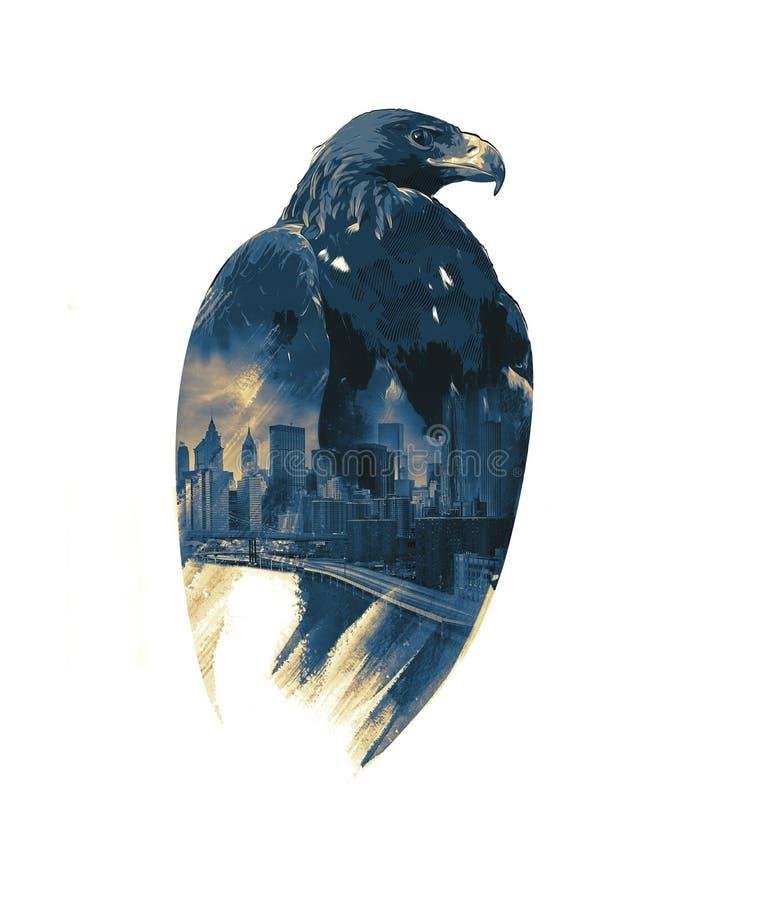 Eagle auf dem Schutz ofstration New York, Aquarell illu stockbild