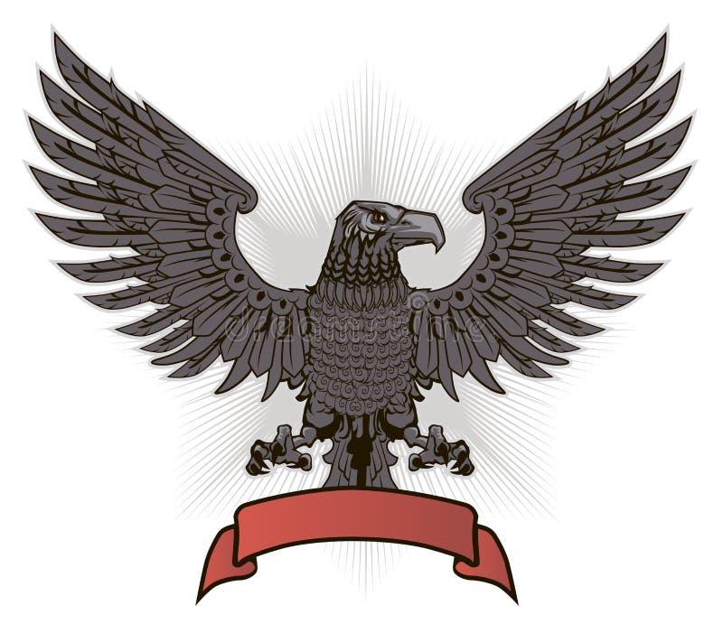 Eagle avec les ailes et le ruban rouge illustration de vecteur