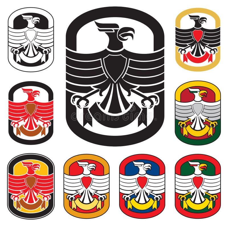 Eagle badge. Symbol with banner. Vector variations vector illustration