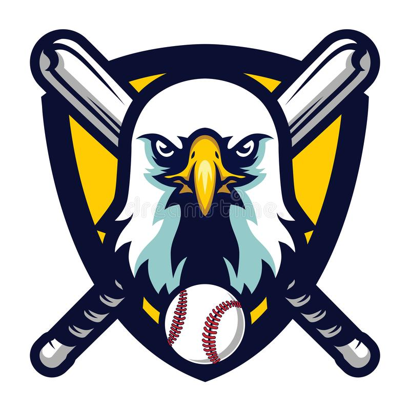 Eagle Baseball Team Logo Badge profesional moderno stock de ilustración