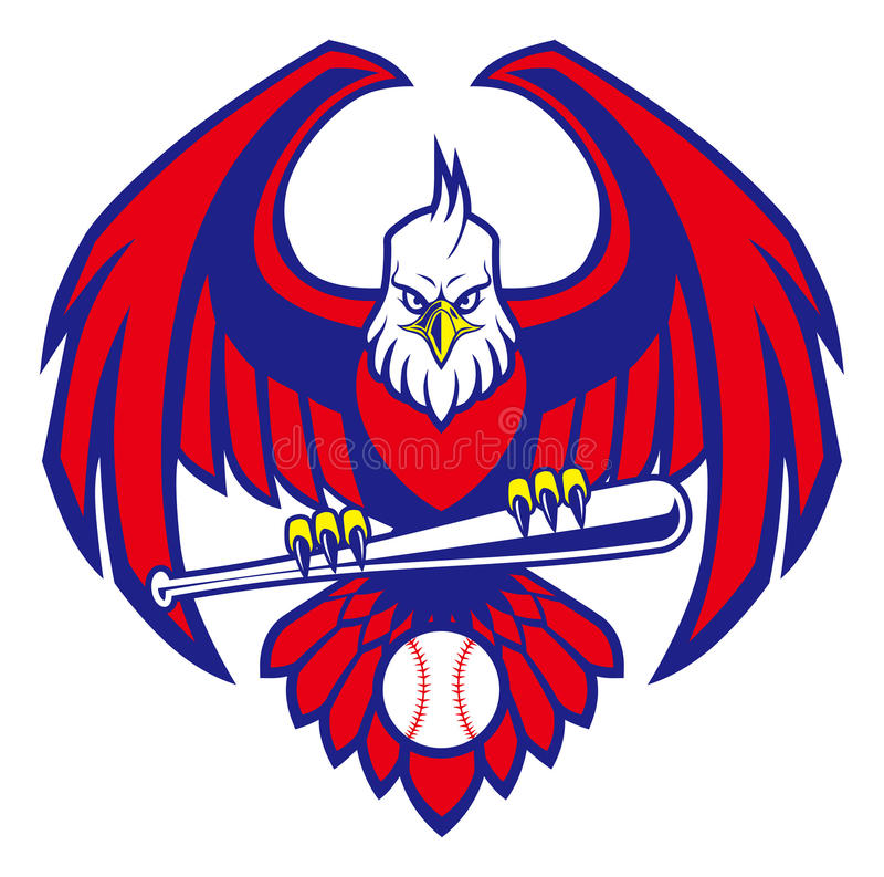 Eagle baseballmaskot vektor illustrationer