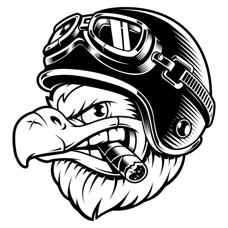 Eagle biker with cigar. American eagle with cigar. Vector illustration of motorcycle rider with biker helmet. Shirt graphics.Isolated on white background stock illustration