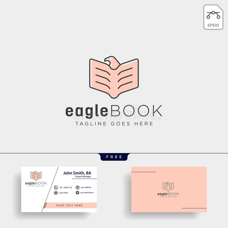 Eagle or bird book education line logo template vector illustration icon element. Isolated - vector file royalty free stock photo