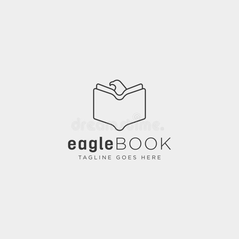Eagle or bird book education line logo template vector illustration icon element. Isolated - vector file stock images