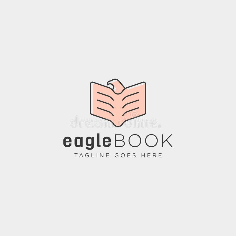 Eagle or bird book education line logo template vector illustration icon element. Isolated - vector file royalty free stock image