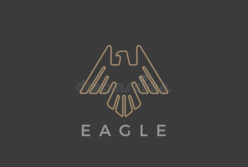 Eagle Bird flying Logo design vector template Linear luxury heraldic style.Falcon Hawk soaring outline Logotype icon vector illustration