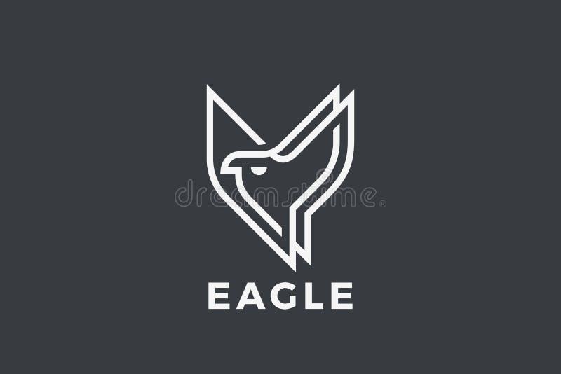 Eagle Bird Flying Logo-Lineaire ontwerpvector Falco stock illustratie