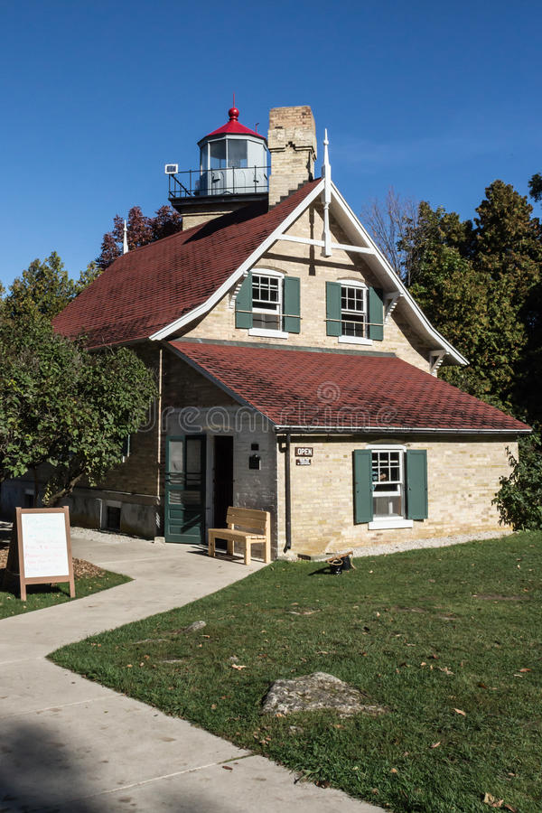 Eagle Bluff Lighthouse, le comté de Door, WI photographie stock libre de droits