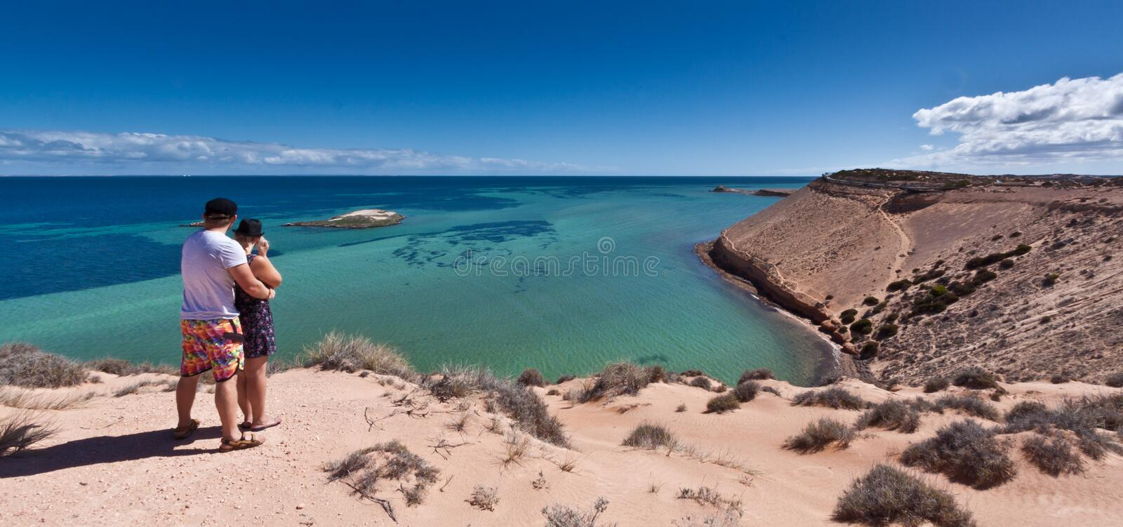 Eagle Bluff - Shark Bay World Heritage Area. The stunning clear waters and cliffs at Eagle Bluff at Shark Bay in the World Heritage Listed Area make a serene and royalty free stock photography