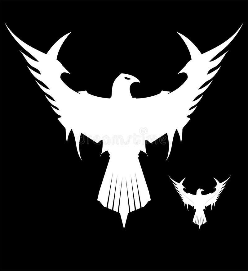Eagle branco, espalhou suas asas ilustração stock