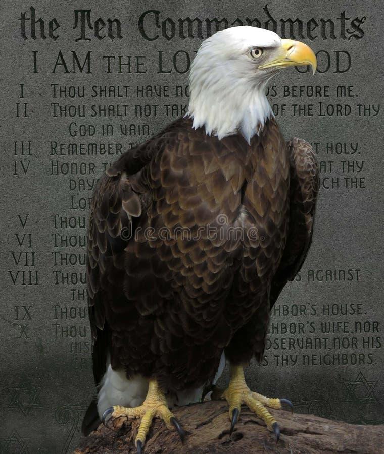 Eagle calvo americano diez mandamientos imágenes de archivo libres de regalías