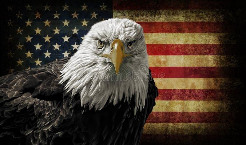 Eagle calvo americano sulla bandiera di lerciume