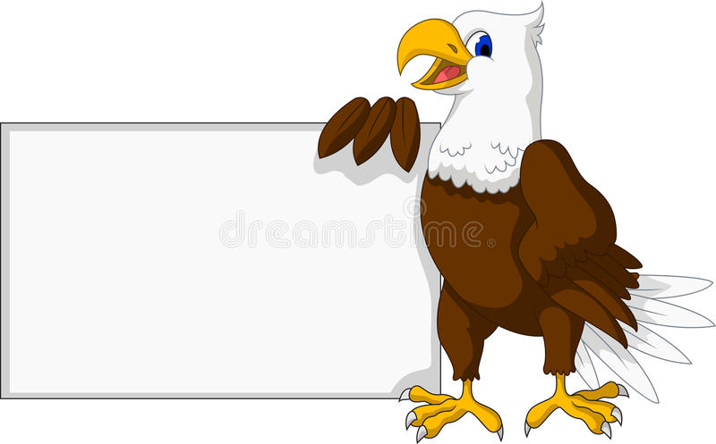 Eagle cartoon with blank sign vector illustration