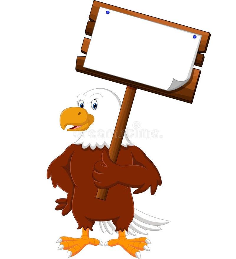 Eagle cartoon posing. Illustration of eagle bird holding wooden signboard vector illustration