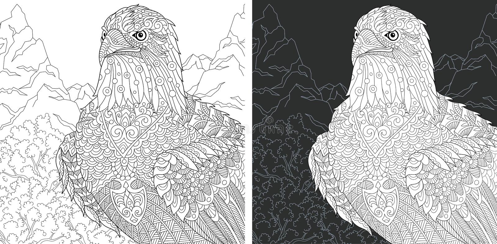 Eagle Coloring Page. Eagle. Coloring Page. Coloring Book. Colouring picture with bald eagle drawn in zentangle style. Antistress freehand sketch drawing. Vector royalty free illustration