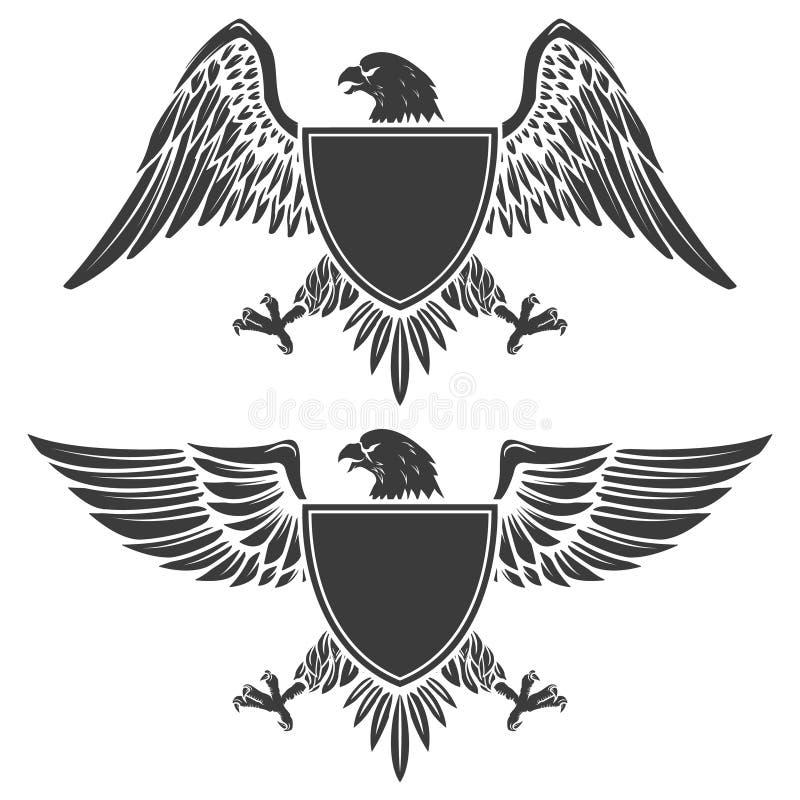 Eagle com o protetor isolado no fundo branco Elemento f do projeto ilustração royalty free